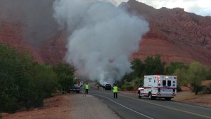 Vehicle fire on Tuacahn Drive, Ivins, Utah, Oct. 17, 2015 | Photo courtesy of Christine Rezny, St. George News