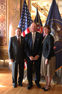 Gov. Gary R. Herbert, Dave Ure and Mae Ure pose for a photo, Salt Lake City, Utah, Oct. 22, 2015 | Photo courtesy of the offices of Gary Herbert, St. George News