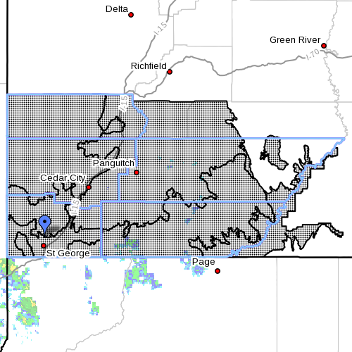 """Dots denote areas in Southern and south-central Utah subject to a """"Flash Flood Watch"""" issued by the National Weather Service, Oct. 18, 2015   Image courtesy of NWS, St. George News   Click on map to enlarge"""