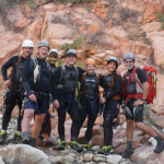A group of seven canyoneers before the first rappel of Keyhole Canyon on Monday, Sept. 14, 2015. All of the seven died in a flash flood that coursed through Keyhole Canyon that same day. Pictured from left: Gary Favela, Don Teichner, Muku Reynolds, Steve Arthur, Linda Arthur, Robin Brum and Mark MacKenzie, Zion National Park, Utah, Sept. 14, 2015 | Photo courtesy of Zion National Park, St. George News