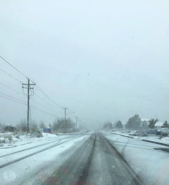 Snowy highway in Cedar City, Utah, Nov. 16, 2015 | Photo by Tracie Sullivan, St. George News