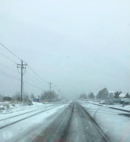 Snowy highway in Cedar City, Utah, Nov. 16, 2015 | Photo by Tracie Sullivan, St. George News