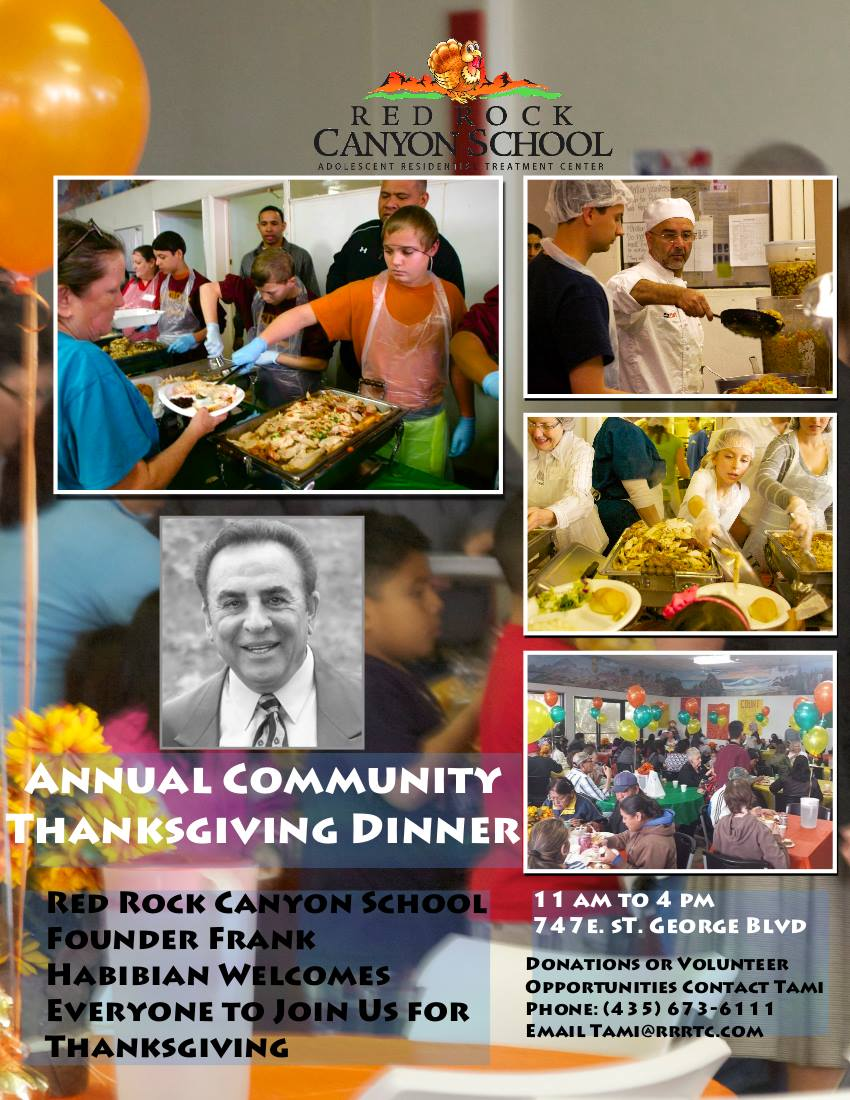 Flyer for Annual Community Thanksgiving Dinner, courtesy of Red Rock Canyon School