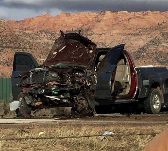 Wreckage from a pileup involving several vehicles Friday, with eight people transported to the hospital with injuries. Apple Valley, Utah, Nov. 27, 2015   Photo submitted, St. George News
