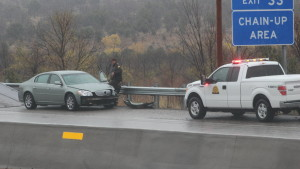 Another car spun out of control on northbound I-15 near milepost 31, near the cite of the car-versus-semi incident. No injuries resulted from this incident. The roadway was slick due to a mix of rain and snowfall Washington County, Utah, Nov. 16, 2015 | Photo by Mori Kessler, St. George News