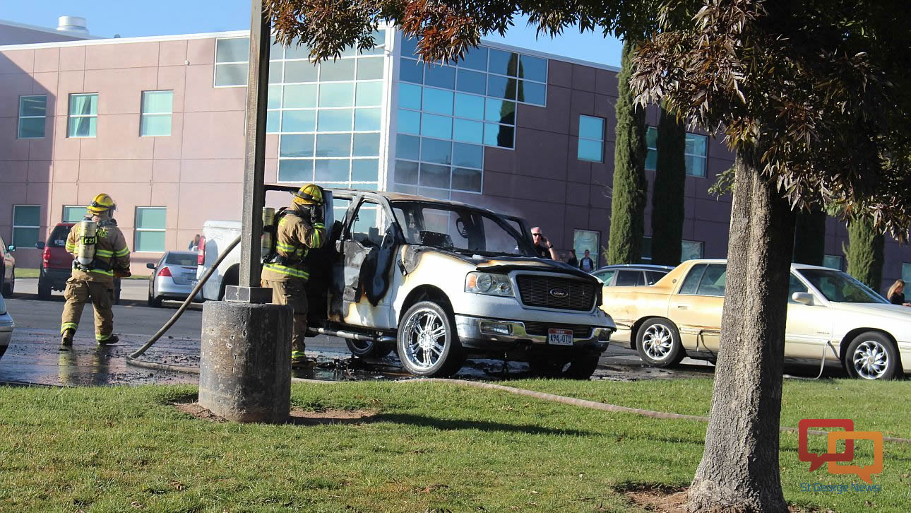 A fire destroyed a pickup truck Friday at Snow Canyon High School, St. George, Utah, November 20, 2015 | Photo by Ric Wayman, St. George News