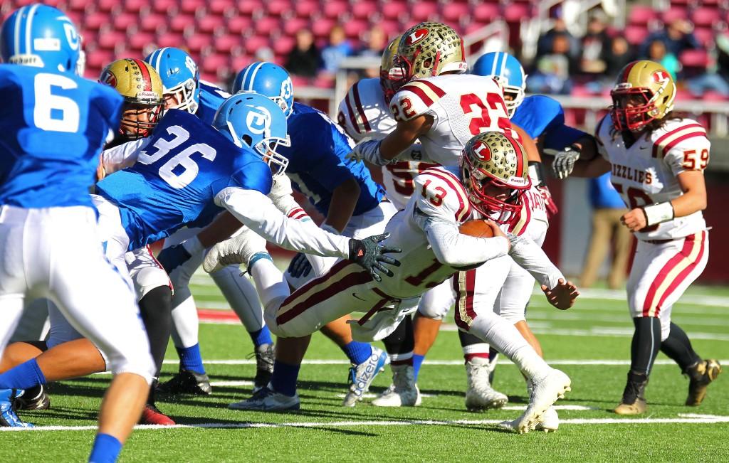 Logan's quarterback Hunter Horsley (13) dives for a first down, Dixie vs. Logan, 3AA State Football Championship, Salt Lake City, Utah, Nov. 20th, 2015, | Photo by Robert Hoppie, ASPpix.com, St. George News