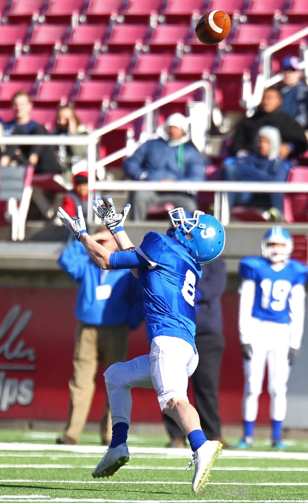 Dixie's Hobbs Nyberg (9) makes a diving catch, Dixie vs. Logan, 3AA State Football Championship, Salt Lake City, Utah, Nov. 20th, 2015, | Photo by Robert Hoppie, ASPpix.com, St. George News