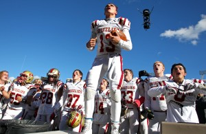 Logan's Hunter Horsley leads the team in a cheer for the fans after their state championship victory over Dixie, Dixie vs. Logan, 3AA State Football Championship, Salt Lake City, Utah, Nov. 20th, 2015,   Photo by Robert Hoppie, ASPpix.com, St. George News