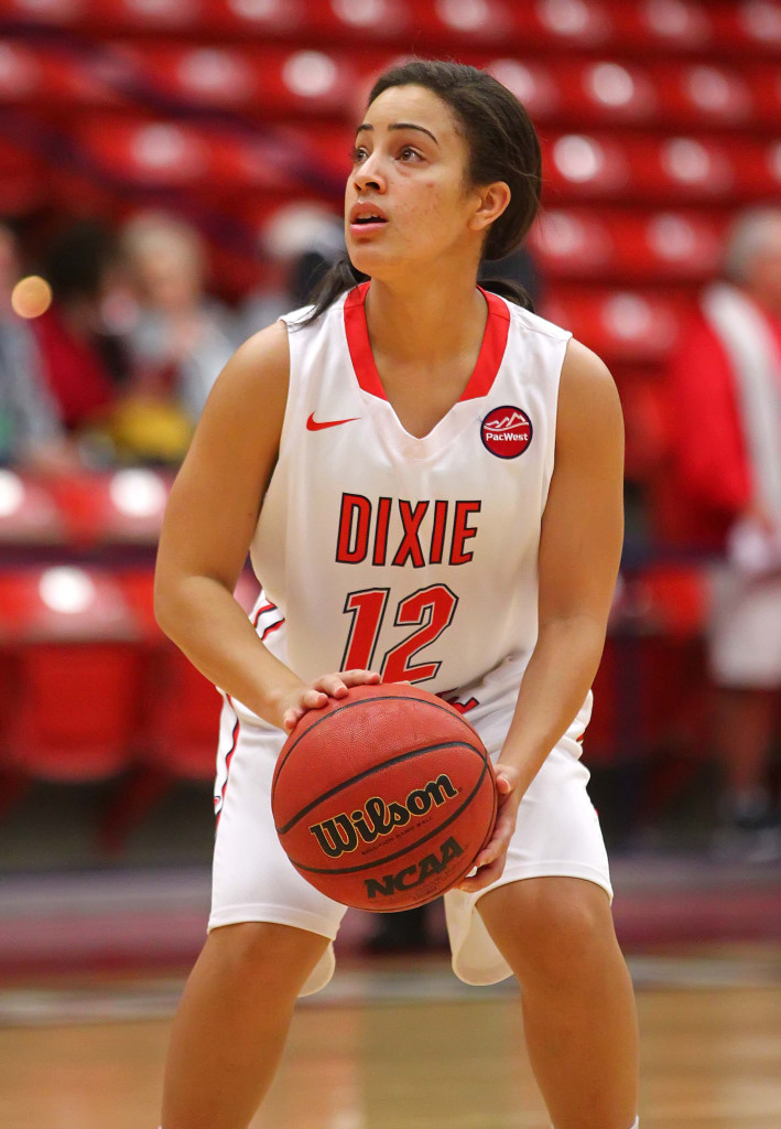 Dixie State's Leslie Tademy (12), Dixie State University vs. Westminster College, Womens basketball, St. George, Utah, Nov. 24th, 2015, | Photo by Robert Hoppie, ASPpix.com, St. George News
