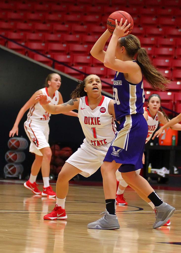 File photo of Dixie State's  Tramina Jordan (1), Dixie State University vs. Westminster College, Womens basketball, St. George, Utah, Nov. 24th, 2015, | Photo by Robert Hoppie, ASPpix.com, St. George News