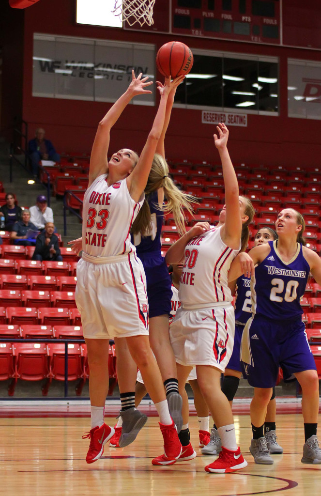 Dixie State's Taylor Mann (33), file photo from Dixie State University vs. Westminster College, Womens basketball, St. George, Utah, Nov. 24th, 2015, | Photo by Robert Hoppie, ASPpix.com, St. George News