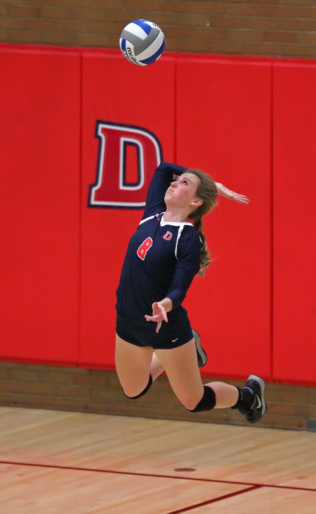Alex Anderson (8) for Dixie State, Dixie State University vs. California Baptist University, Volleyball, St. George, Utah, Nov. 4th, 2015, | Photo by Robert Hoppie, ASPpix.com, St. George News