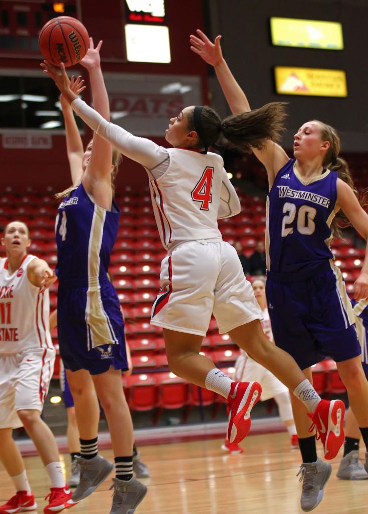 Dixie State's Chermayne Moore (4), Dixie State University vs. Westminster College, Womens basketball, St. George, Utah, Nov. 24th, 2015, | Photo by Robert Hoppie, ASPpix.com, St. George News