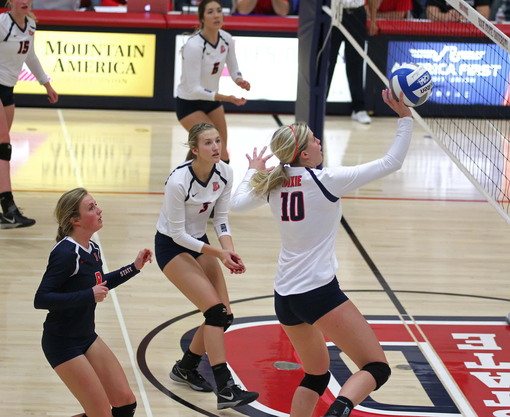 Brette Anderson, Dixie State University vs. California Baptist University, Volleyball, St. George, Utah, Nov. 4th, 2015, | Photo by Robert Hoppie, ASPpix.com, St. George News