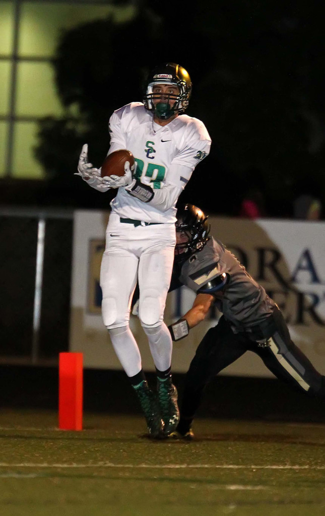 Snow Canyon's Tyson Deland (83) had two touchdowns against Shelley, Ida., file photo from Desert Hills vs. Snow Canyon, Football, St. George, Utah, Nov. 6th, 2015, | Photo by Robert Hoppie, ASPpix.com, St. George News