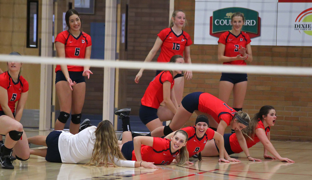 Dixie States bench celebrates a point, Dixie State University vs. Point Loma University, Volleyball, St. George, Utah, Nov. 7th, 2015, | Photo by Robert Hoppie, ASPpix.com, St. George News