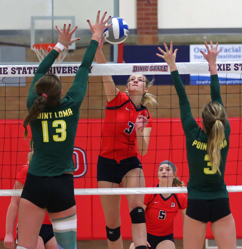 Lindsey Jones (3) for Dixie State, Dixie State University vs. Point Loma University, Volleyball, St. George, Utah, Nov. 7th, 2015, | Photo by Robert Hoppie, ASPpix.com, St. George News