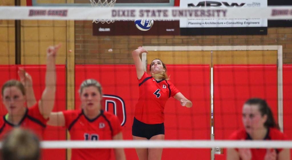 Taylor Duryea (4), Dixie State University vs. Point Loma University, Volleyball, St. George, Utah, Nov. 7th, 2015, | Photo by Robert Hoppie, ASPpix.com, St. George News