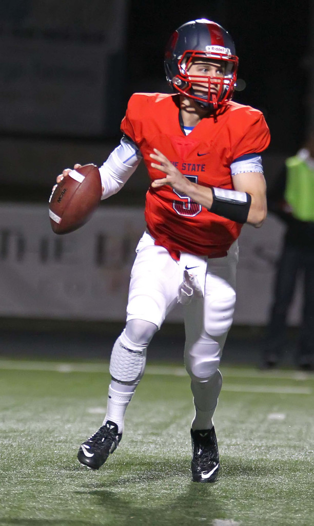 Blake Barney (5) will be fighting for the starting QB job in fall camp, file photo from Dixie State University vs. Humboldt State University, Football, St. George, Utah, Nov. 7th, 2015, | Photo by Robert Hoppie, ASPpix.com, St. George News
