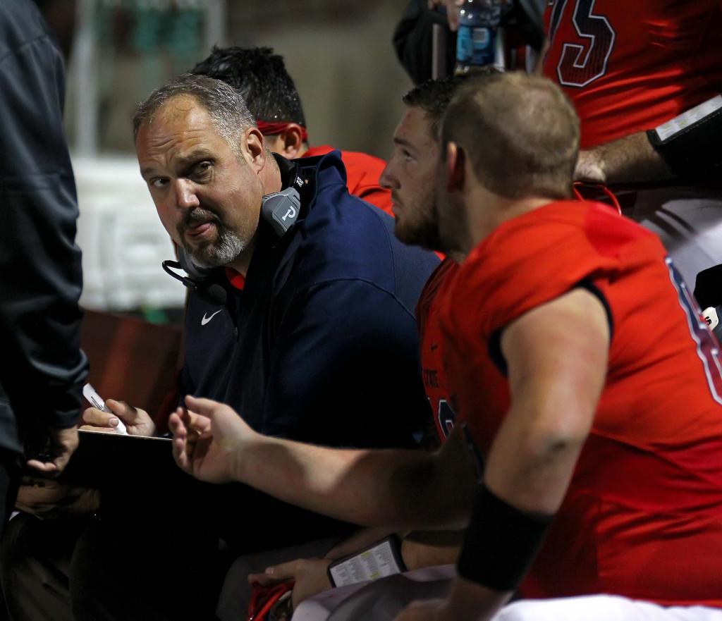 Head Coach Scott Brumfield, Dixie State University vs. Humboldt State University, Football, St. George, Utah, Nov. 7th, 2015, | Photo by Robert Hoppie, ASPpix.com, St. George News