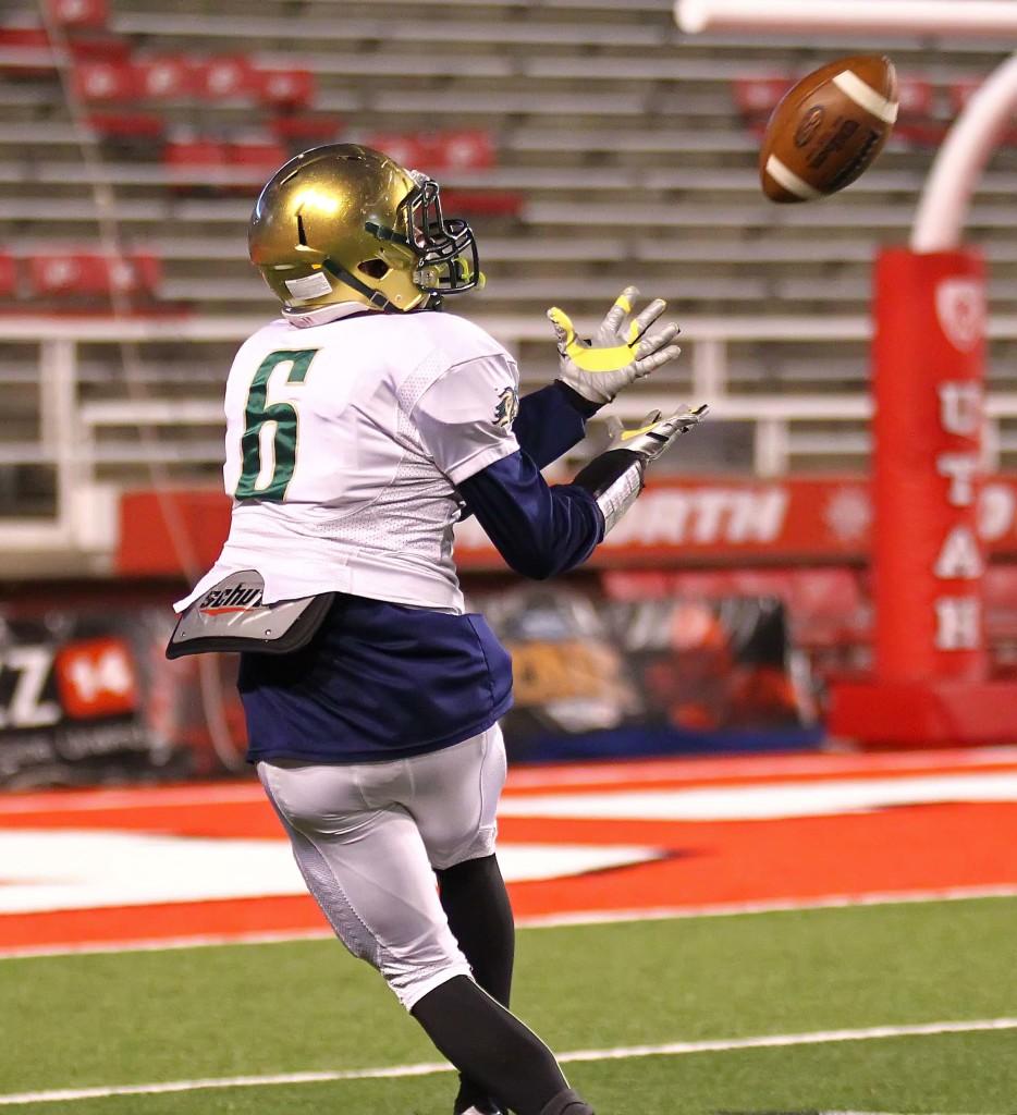 Snow Canyon's  Chris Poulsen (6) catches a long pass for a touchdown, Snow Canyon vs. Logan, 3AA Football Semifinals, Salt Lake City, Utah, Nov. 12th, 2015, | Photo by Robert Hoppie, ASPpix.com, St. George News