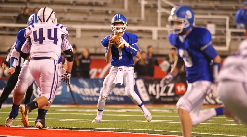 Dixie's  Zak Harrah (1), Dixie vs. Tooele, 3AA Football Semifinals, Salt Lake City, Utah, Nov. 13th, 2015, | Photo by Robert Hoppie, ASPpix.com, St. George News