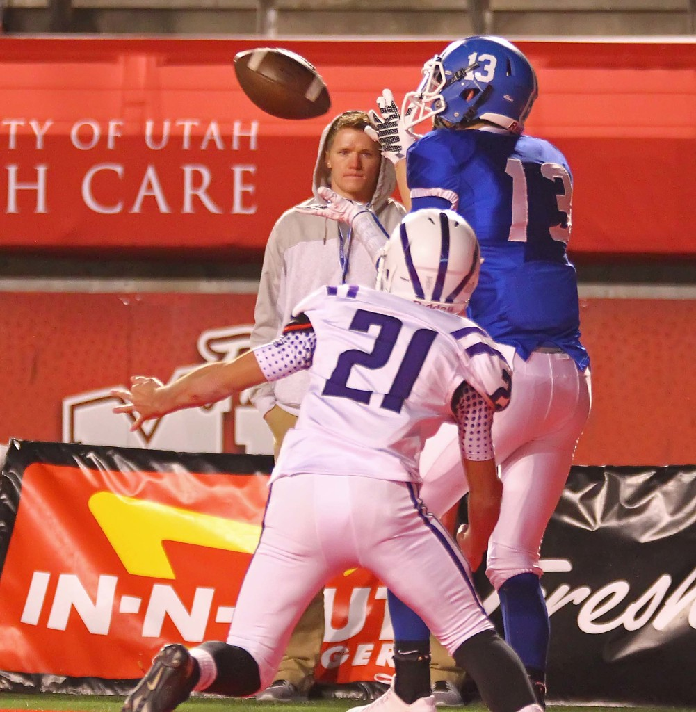 Dixie's  Bret Barben (13) makes a touchdown catch, Dixie vs. Tooele, 3AA Football Semifinals, Salt Lake City, Utah, Nov. 13th, 2015, | Photo by Robert Hoppie, ASPpix.com, St. George News