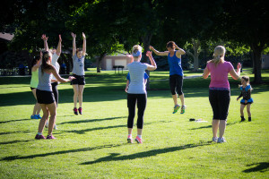 Kjell Crowe in the blue shirt leading a group of women in a boot camp, Orem, Utah, May 2014 | Photo courtesy of Kjell Crowe, St. George News