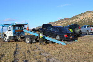 A two-vehicle crash backed up traffic on northbound Interstate 15 near milepost 39, Washington County, Utah, Nov. 29, 2015 | Photo by Emily Hammer, St. George News