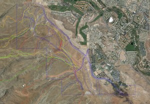 A Google Earth aerial photo shows trails used by mountain biking events, with development plan marked in blue | Image courtesy Southern Utah Bicycle Alliance