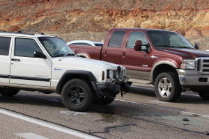 Jeep suffers front-end damage after collision in Hurricane, Utah, Nov. 10, 2015|Photo by Cody Blowers, St. George News
