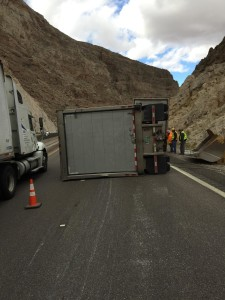 A UPS triple-unit semitrailer toppled its third trailer on Interstate 15 in the Virgin River Gorge. Mohave County, Arizona, Nov. 10, 2015 | Photo courtesy of Arizona Department of Public Safety Sgt. John T. Bottoms, St. George News