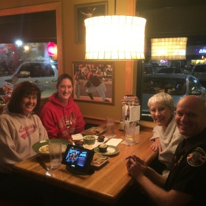 Volunteers take a break from serving tables to visit with family and colleagues who came out to show support, Applebee's, Cedar City, Utah, Nov. 7, 2015 | Photo courtesy of Jerry Womack, St. George News