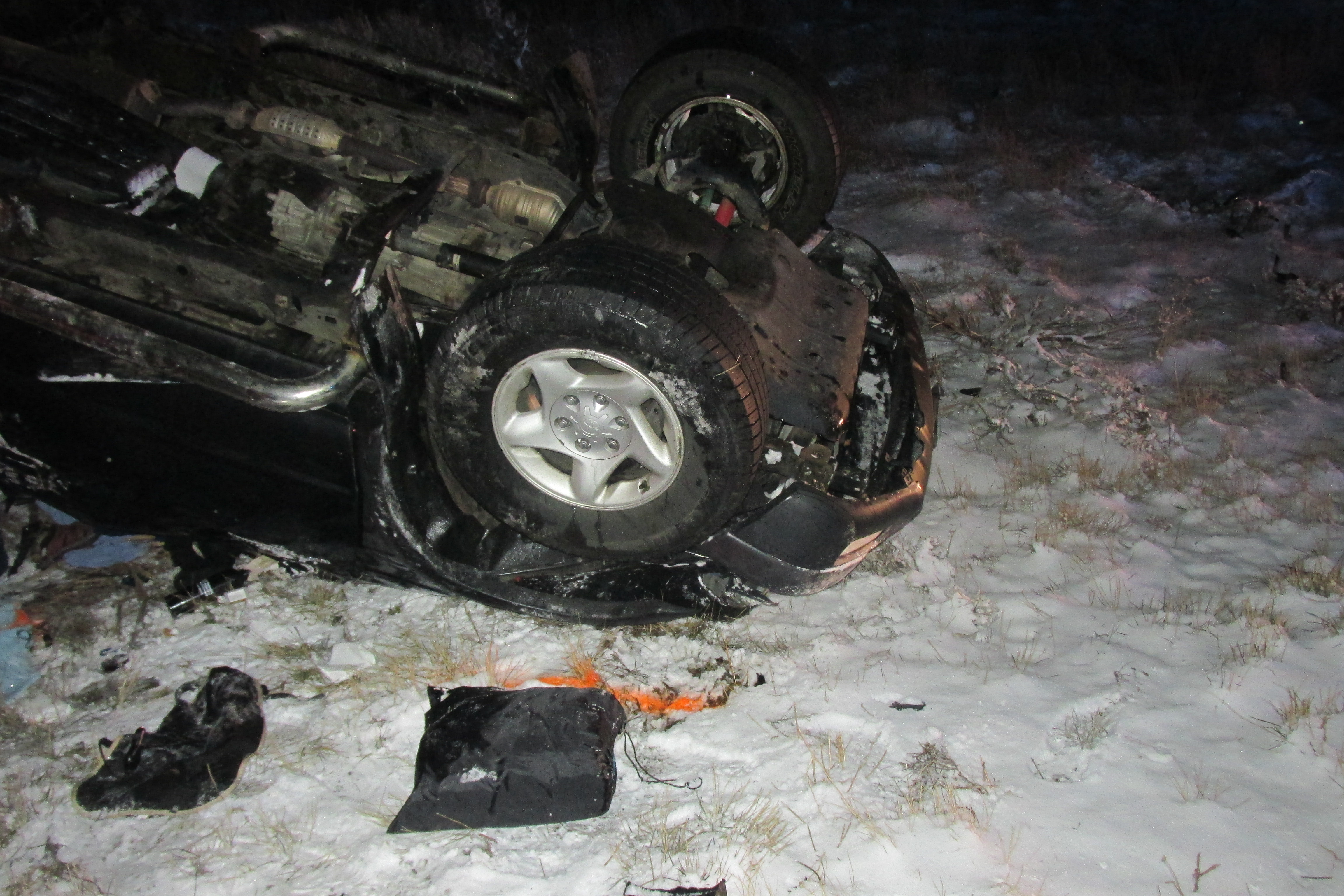 A man died and a woman was sent to the hospital after icy conditions led to a rollover accident at milepost 66 Interstate 15 in Cedar City, Utah, Nov. 17, 2015   Photo courtesy of the Utah Highway Patrol, St. George News