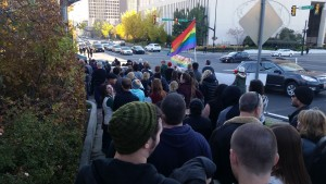 Hundreds gathered at City Creek Park for an event involving the mass-resignation of Mormons from the LDS Church in protest of its policies toward the children of same-sex couples, Salt Lake City, Nov. 14, 2015 | Photo courtesy of Tracie Parry, St. George News