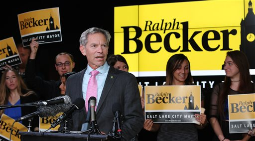 Salt Lake City Mayor Ralph Becker speaks to supporters at an election party. Becker is running against former state lawmaker Jackie Biskupski. Salt Lake City, Utah, Nov. 3, 2015 | Photo by Scott G. Winterton, The Deseret News via AP, St. George News