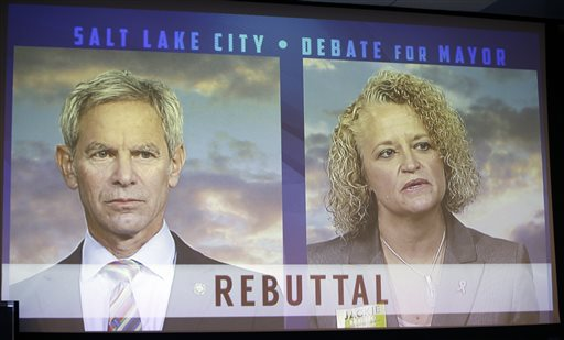 Mayor Ralph Becker, left, and former state representative Jackie Biskupski, right, are displayed on a television screen during a Salt Lake City Mayor debate at the studios of KUED-TV. Salt Lake City, Utah, Oct. 8, 2015 | AP File Photo by Rick Bowmer, St. George News