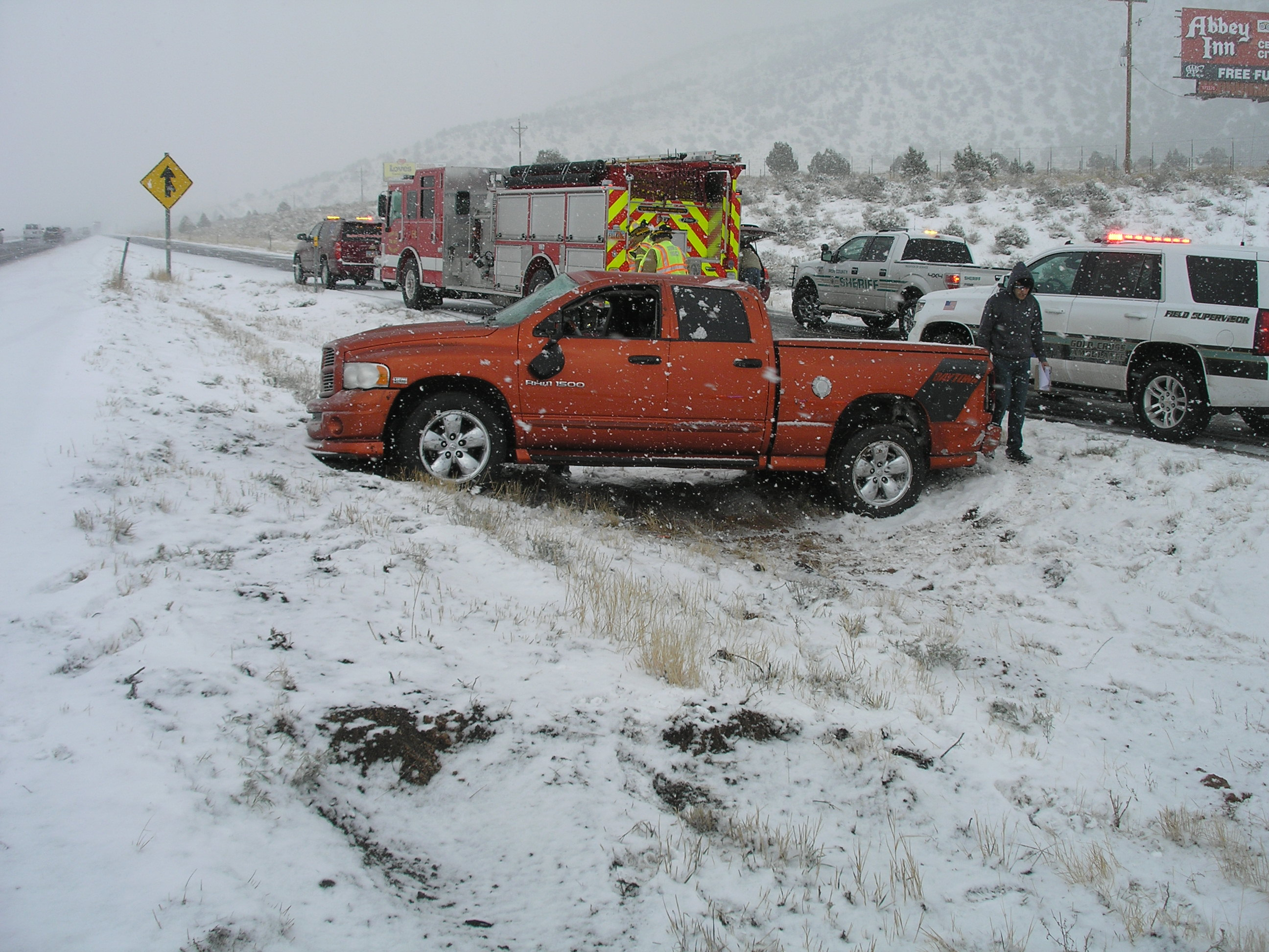 Officials reported Friday a family of five walked away from this rollover on Interstate 15 because they were wearing seat belts, Cedar City, Utah, Nov. 27, 2015 | Photo courtesy of Utah Highway Patrol, Cedar City News