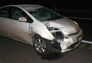 A 53-year-old man was killed after being struck by a 2008 Toyota Prius while standing on Interstate 15, near milepost 90, Clark County, Nevada, Nov. 21, 2015 | Photo courtesy of Nevada Highway Patrol, St. George News