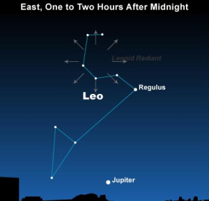 The constellation Leo is the radiant point for the Leonid meteor shower | Image courtesy EarthSky.org, St. George News
