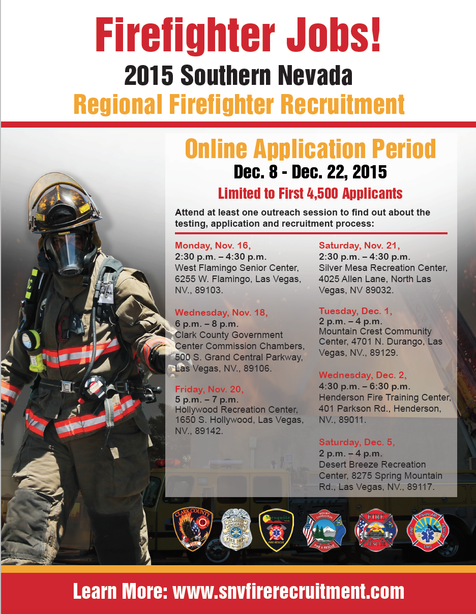 Firefighter jobs, Southern Nevada | Flyer courtesy of Mesquite Fire and Rescue Department, St. George News | Click on image to enlarge