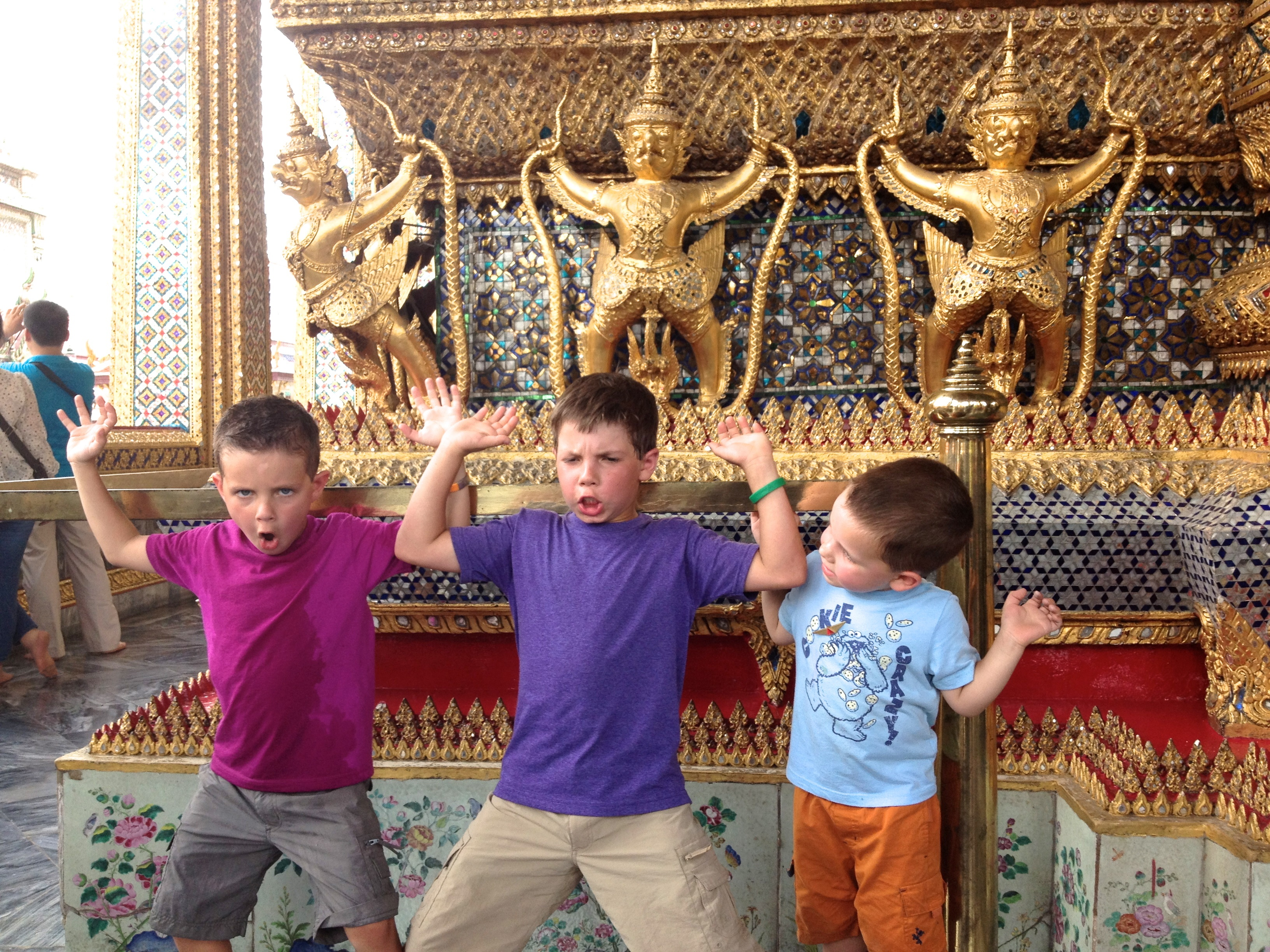 Columnist Kat Dayton's three sons at the  Grand Palace in Bangkok, Thailand, June 2013 | Photo by Kat Dayton, St. George News