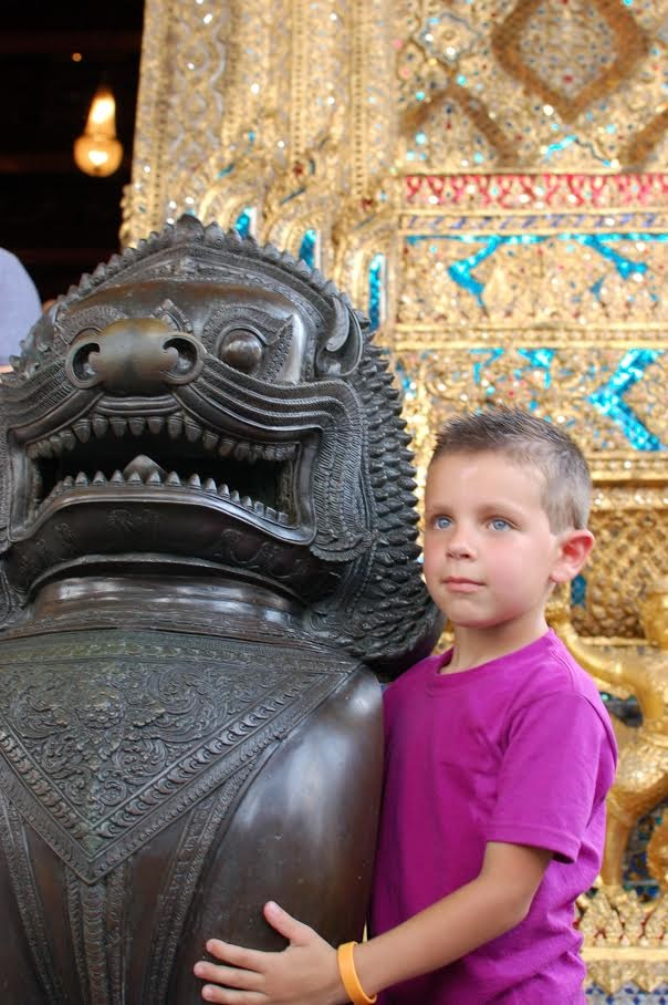 The author's son at the Grand Palace in Bangkok, Thailand, June 2013.