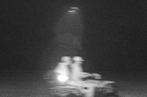 Two hunters caught on a trail camera after illegally poaching a bull elk, Lincoln County, Nevada, August 29, 2015 | Photo courtesy of Nevada Department of Wildlife, St. George News