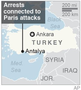 Map locates Antalya, Turkey, where arrests were made connected to the Paris attacks | Map courtesy of the Associated Press