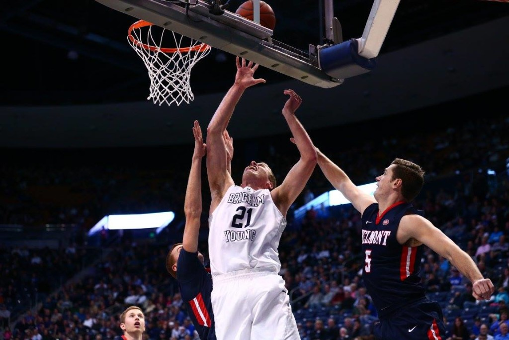 Kyle Davis (21) in the post, BYU vs. Belmont, Provo, Utah, Nov. 28, 2015 | Photo courtesy BYU Photo