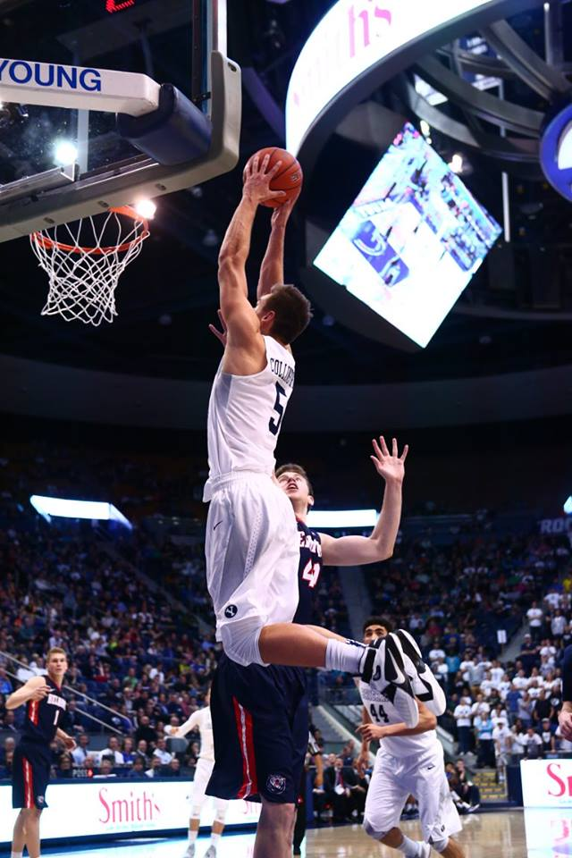 Kyle Collinsworth with the alley oop finish, BYU vs. Belmont, Provo, Utah, Nov. 28, 2015   Photo courtesy BYU Photo