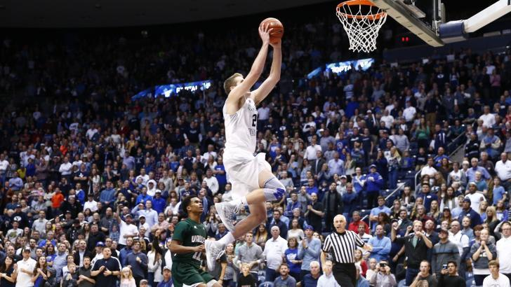 Kyle Davis gets a dunk late in the game, BYU vs. Mississippi Valley State, Provo, Utah, Nov. 25, 2015 | Photo courtesy BYU Photo