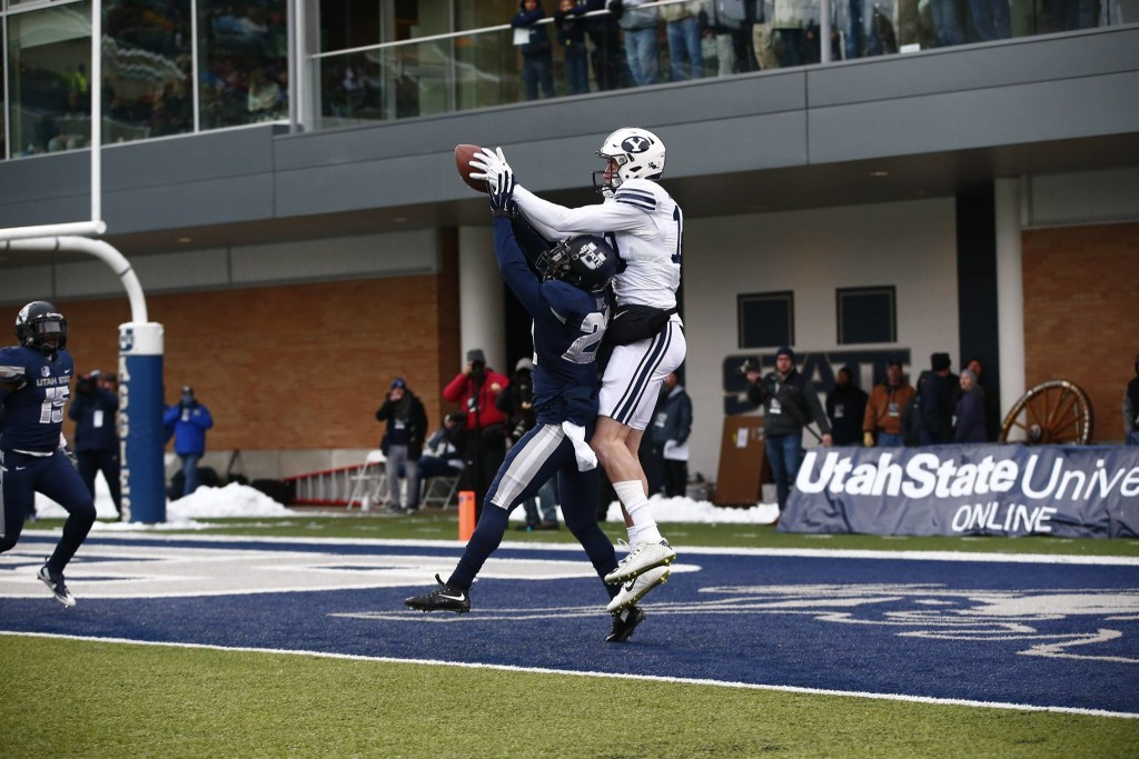 Mitch Matthews scores a TD, BYU at Utah State, Logan, Utah, Nov. 28, 2015 | Photo courtesy BYU Photo